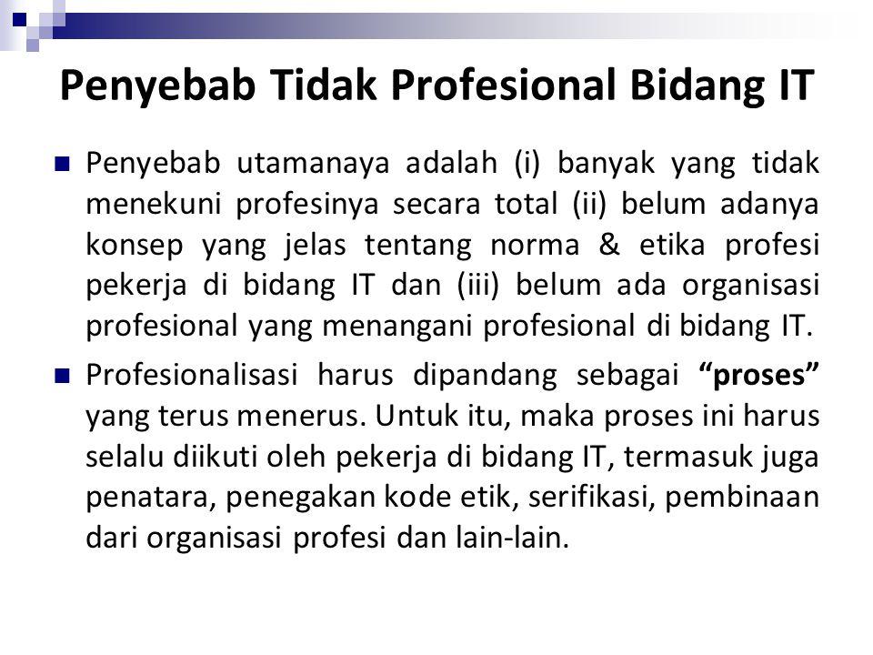 Penyebab Tidak Profesional Bidang IT