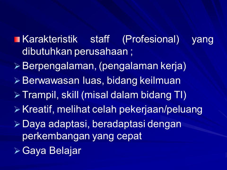 Karakteristik staff (Profesional) yang dibutuhkan perusahaan ;