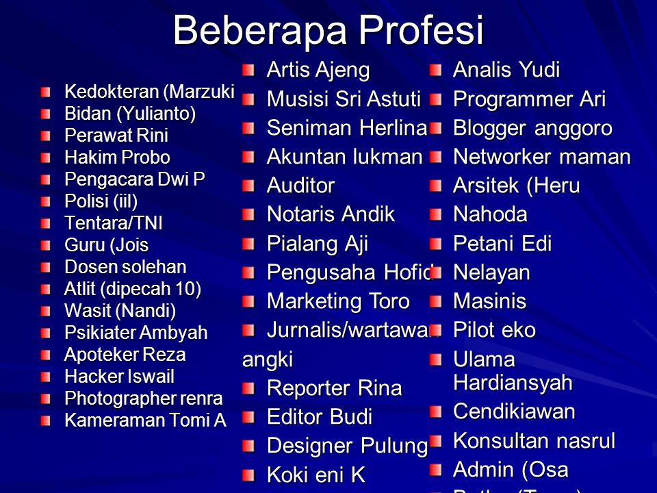 Beberapa Profesi Artis Ajeng Musisi Sri Astuti Seniman Herlina