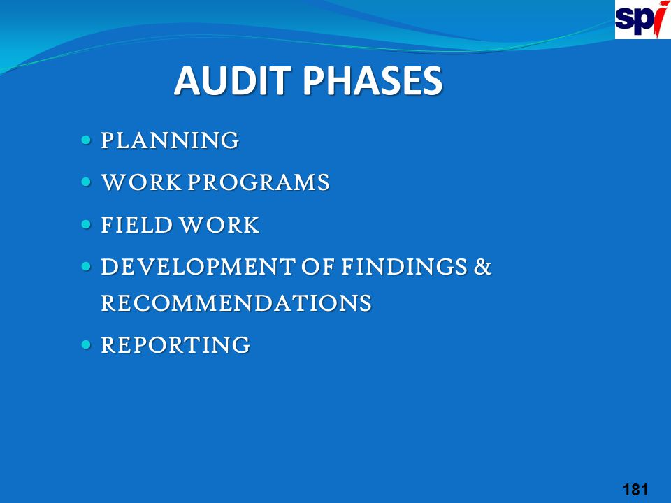 AUDIT PHASES PLANNING WORK PROGRAMS FIELD WORK