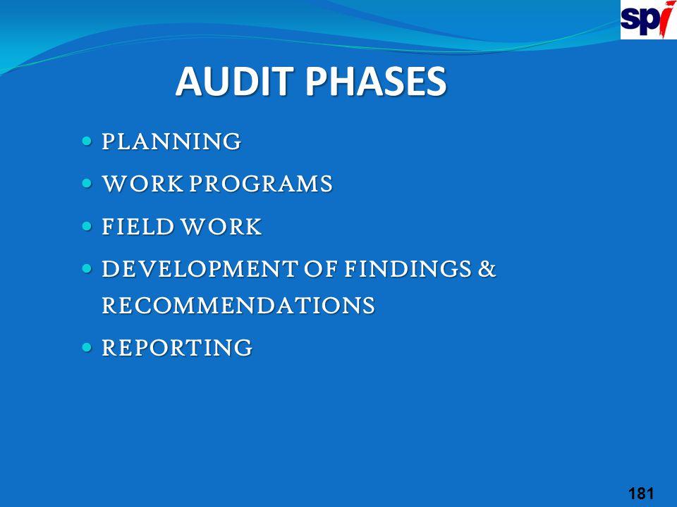 AUDIT PHASES PLANNING WORK PROGRAMS FIELD WORK