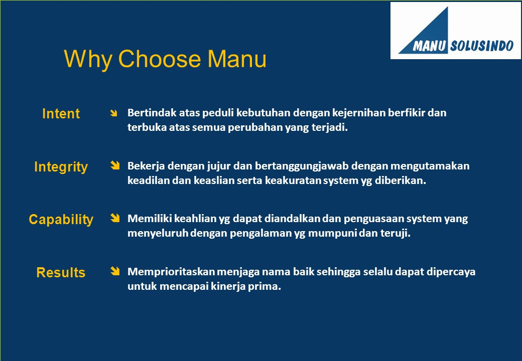 Why Choose Manu Intent Integrity Capability Results