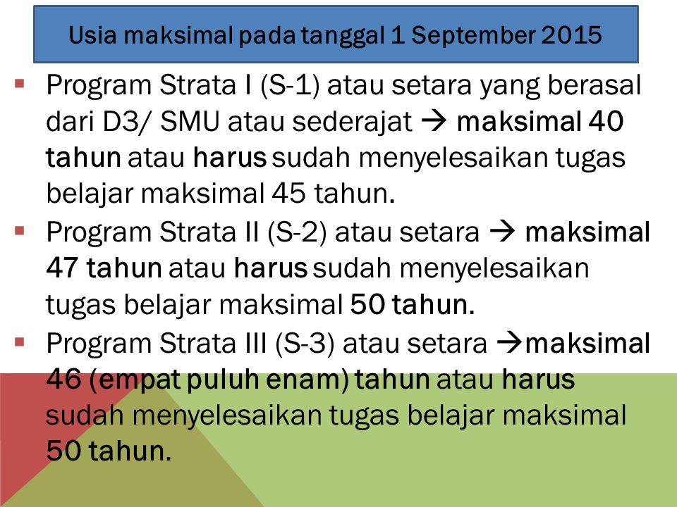 Usia maksimal pada tanggal 1 September 2015
