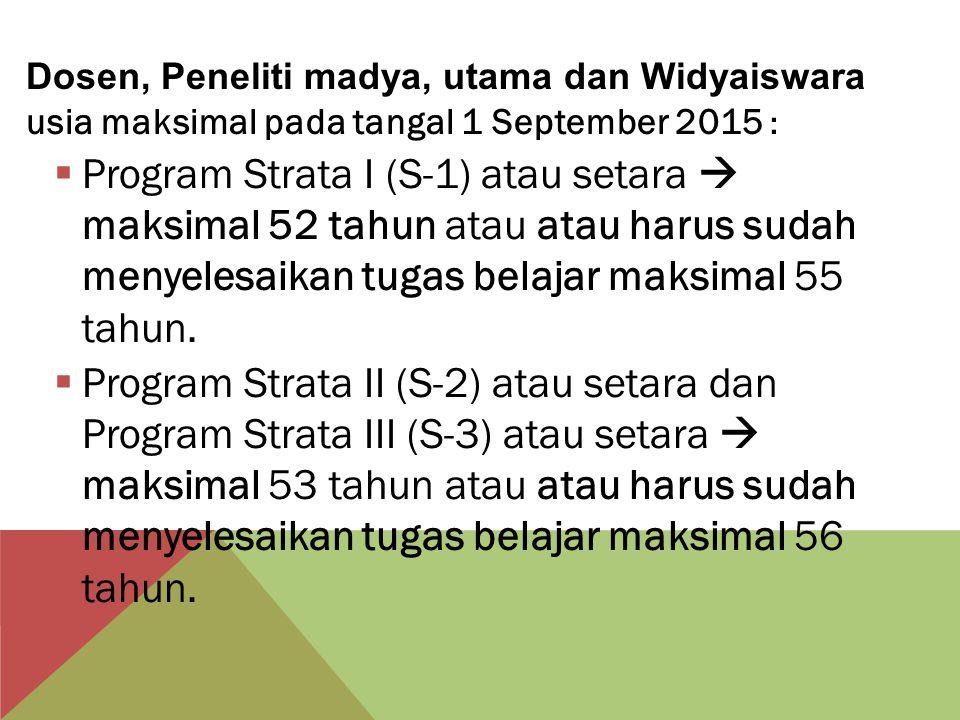 Dosen, Peneliti madya, utama dan Widyaiswara usia maksimal pada tangal 1 September 2015 :