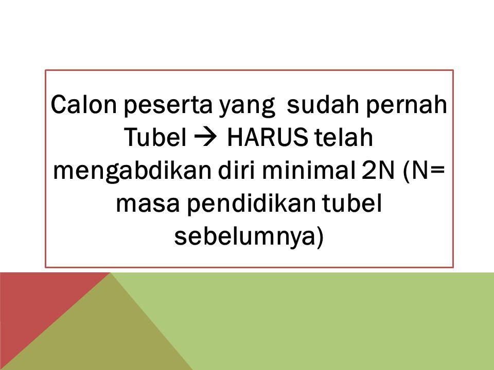 Calon peserta yang sudah pernah Tubel  HARUS telah mengabdikan diri minimal 2N (N= masa pendidikan tubel sebelumnya)