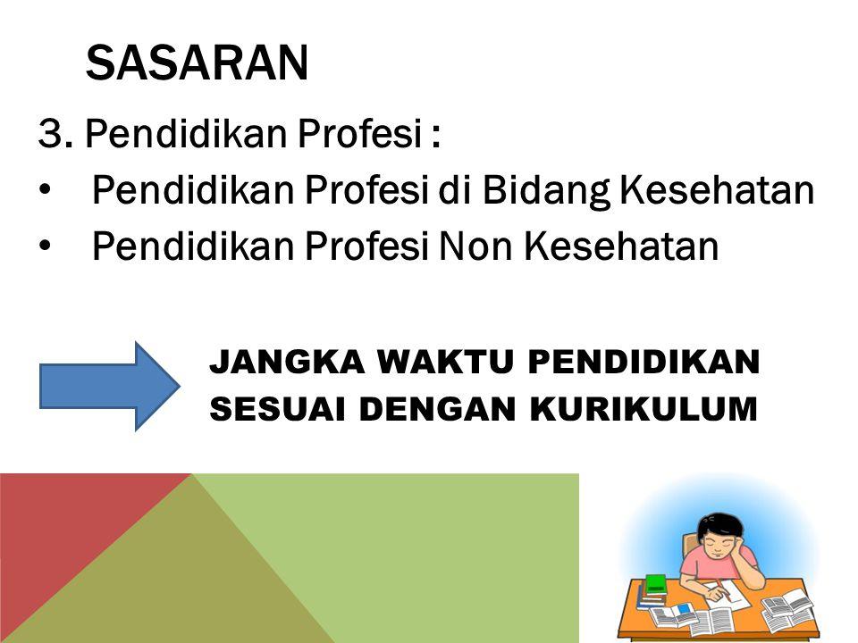 SASARAN 3. Pendidikan Profesi : Pendidikan Profesi di Bidang Kesehatan