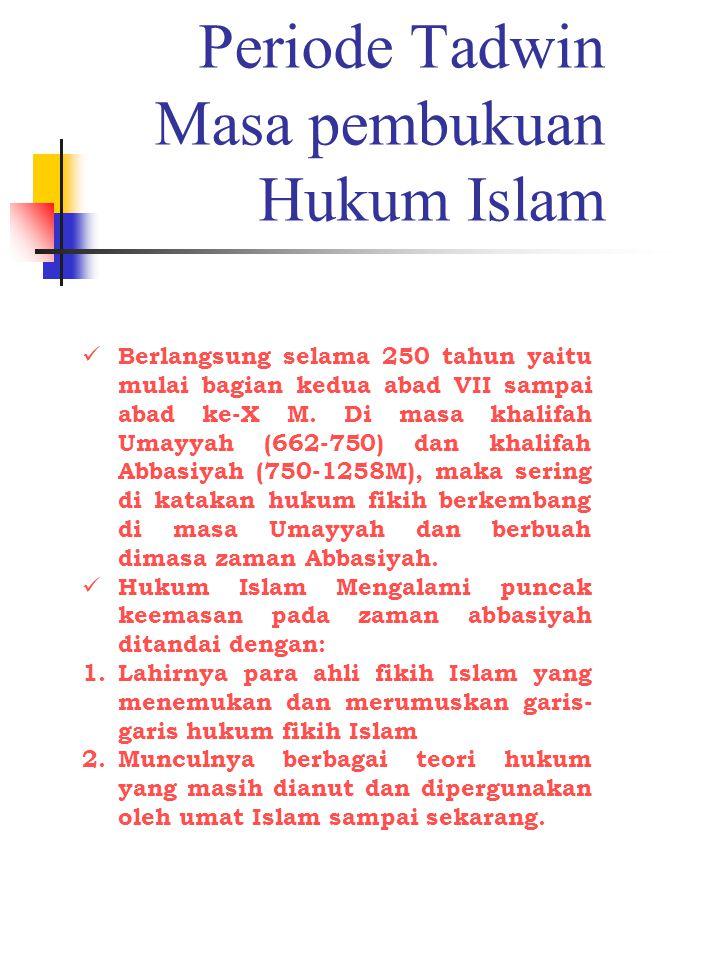 Periode Tadwin Masa pembukuan Hukum Islam