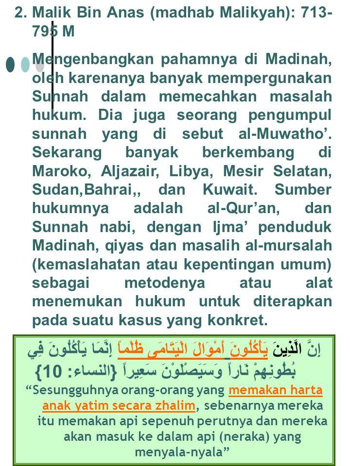 Malik Bin Anas (madhab Malikyah): 713-795 M