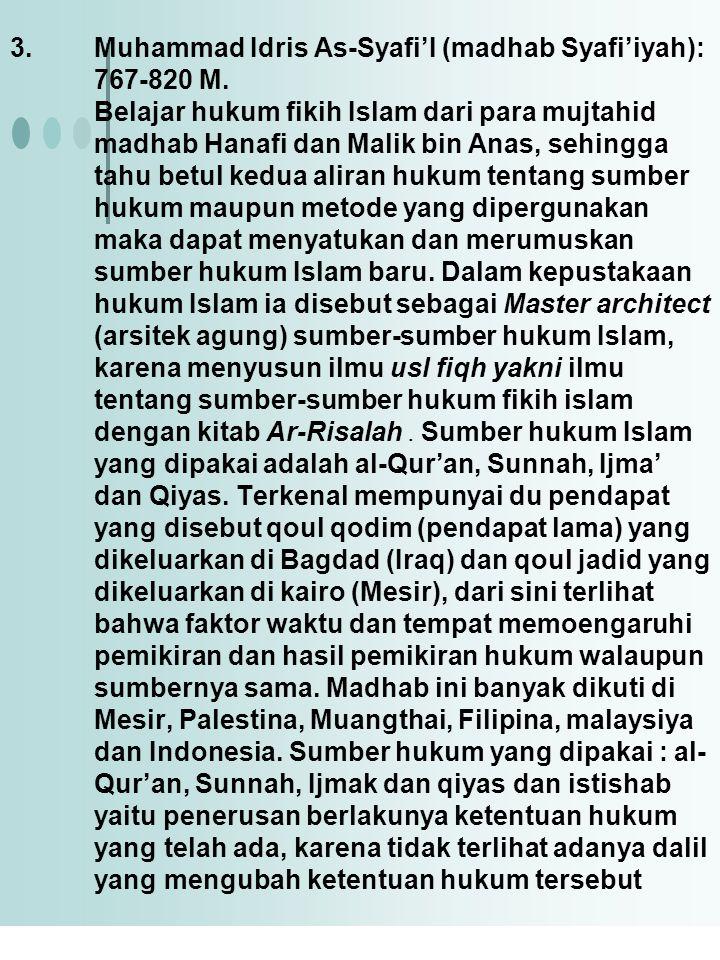 Muhammad Idris As-Syafi'I (madhab Syafi'iyah): 767-820 M
