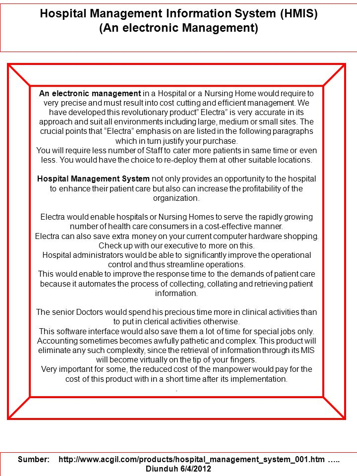 Hospital Management Information System (HMIS) (An electronic Management)