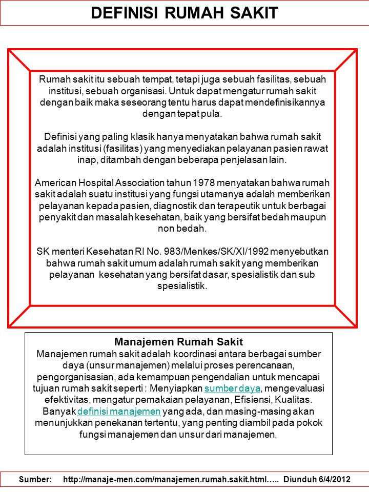 DEFINISI RUMAH SAKIT Manajemen Rumah Sakit