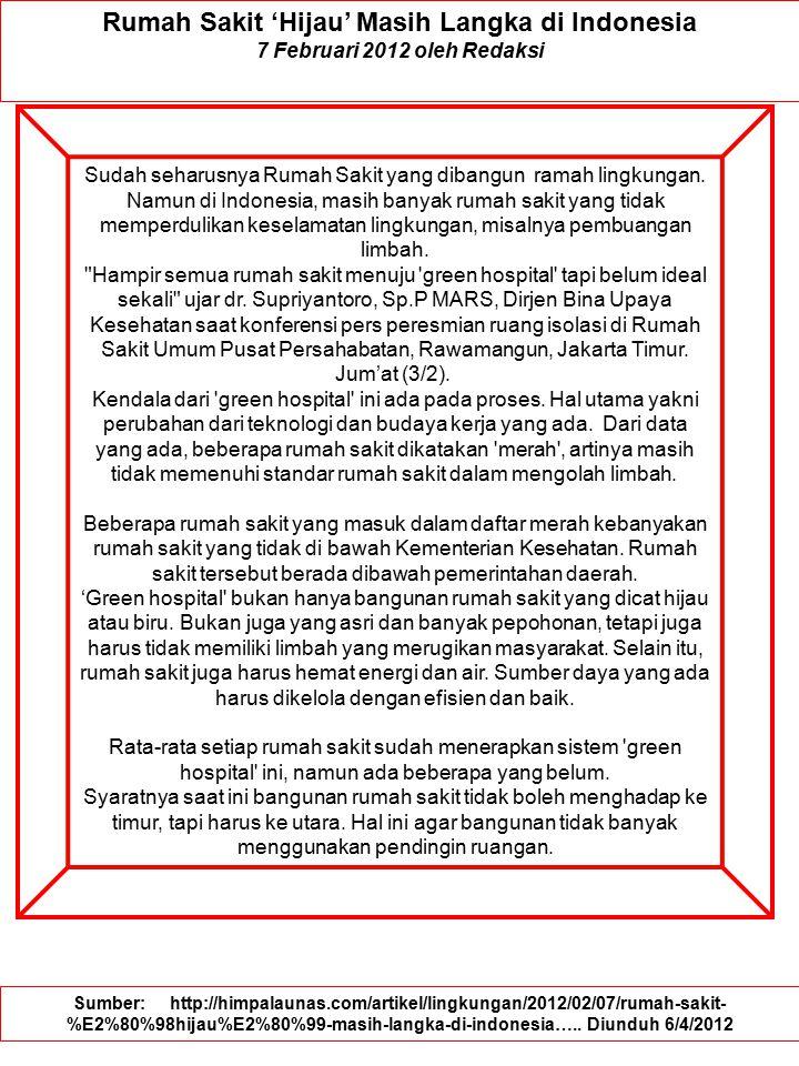 Rumah Sakit 'Hijau' Masih Langka di Indonesia