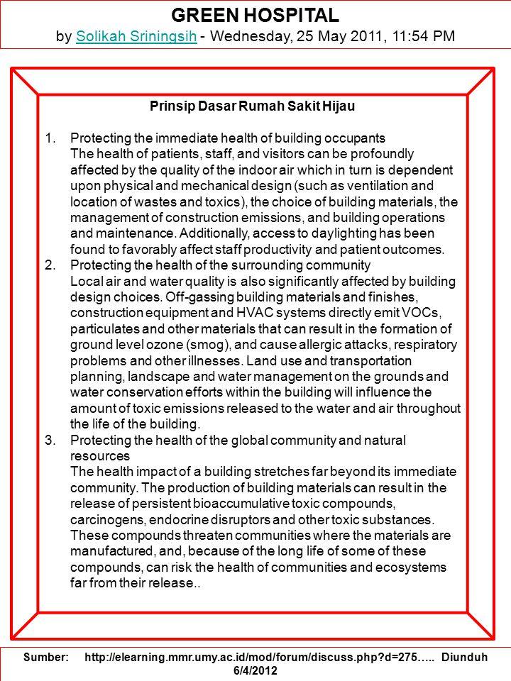 Prinsip Dasar Rumah Sakit Hijau