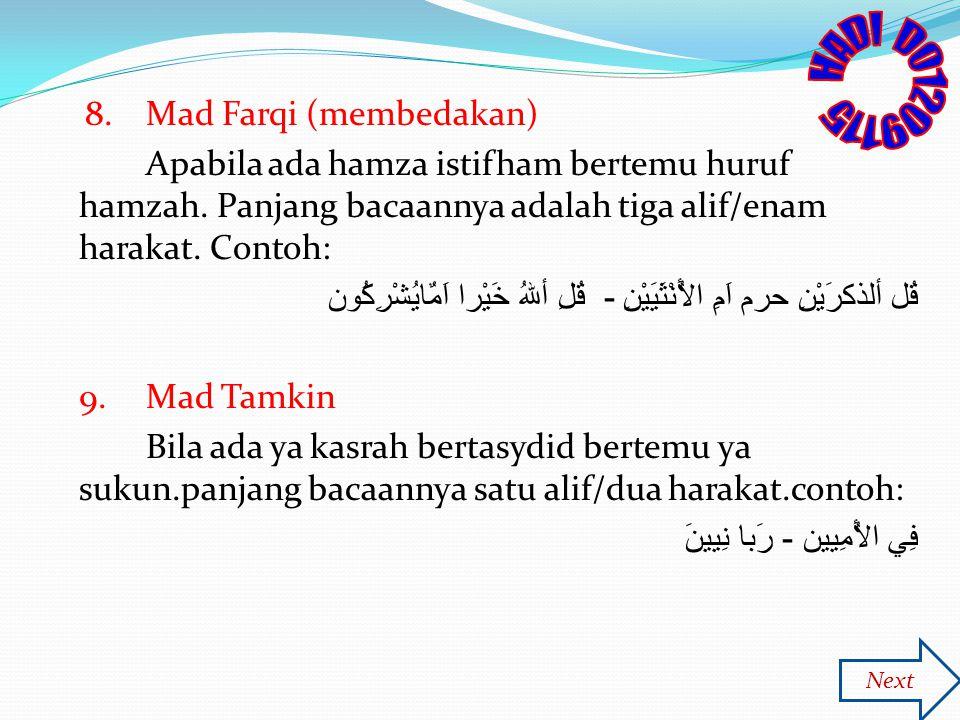 HADI D01209115 8. Mad Farqi (membedakan)