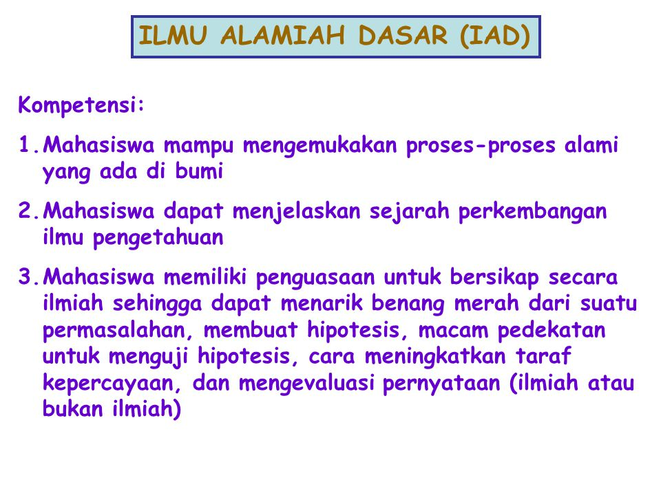 ILMU ALAMIAH DASAR (IAD)