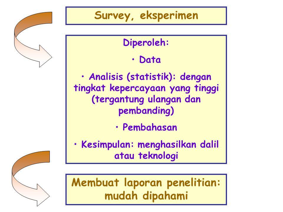 Survey, eksperimen Membuat laporan penelitian: mudah dipahami