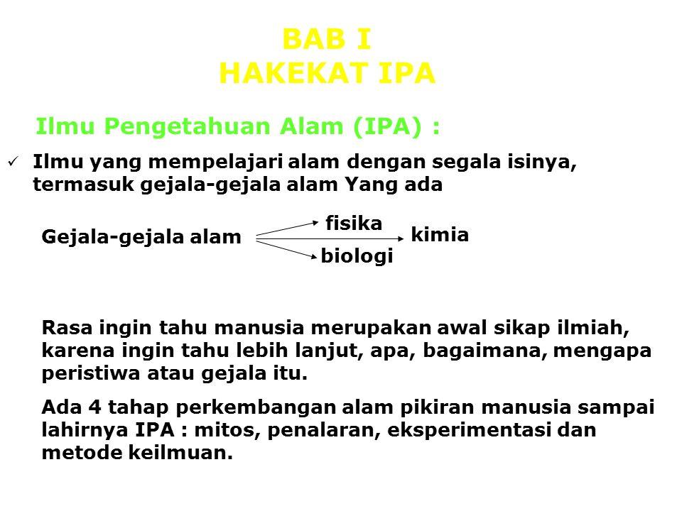 BAB I HAKEKAT IPA Ilmu Pengetahuan Alam (IPA) :