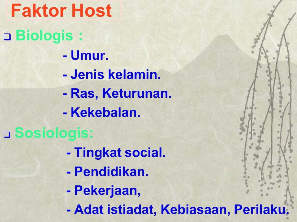 Faktor Host Biologis : - Umur. - Jenis kelamin. - Ras, Keturunan.