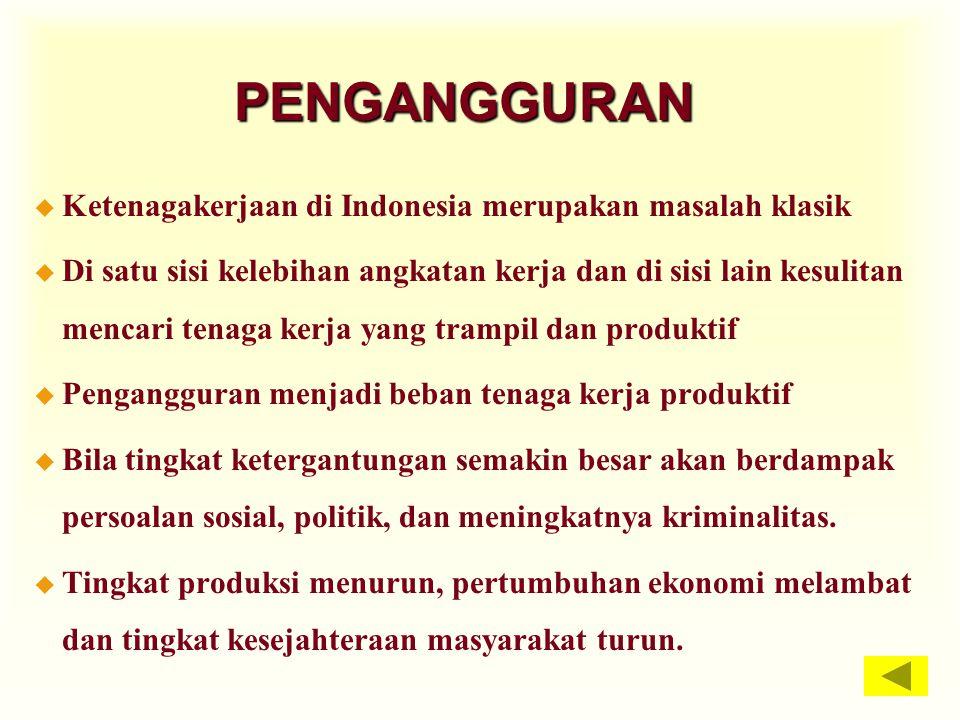 PENGANGGURAN Ketenagakerjaan di Indonesia merupakan masalah klasik
