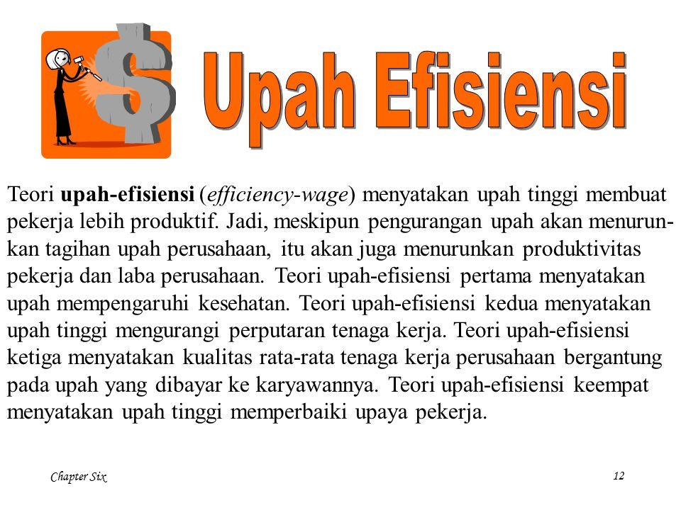 Upah Efisiensi Teori upah-efisiensi (efficiency-wage) menyatakan upah tinggi membuat.