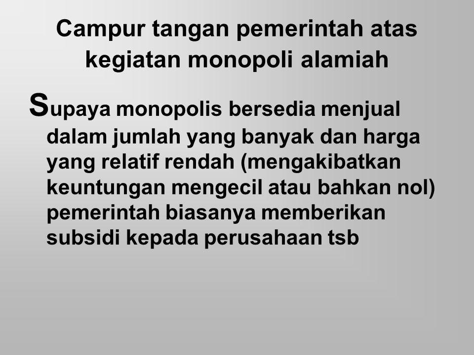 Campur tangan pemerintah atas kegiatan monopoli alamiah