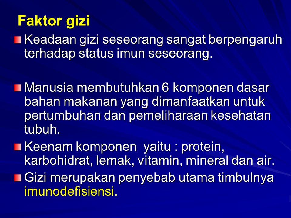 Faktor gizi Keadaan gizi seseorang sangat berpengaruh terhadap status imun seseorang.