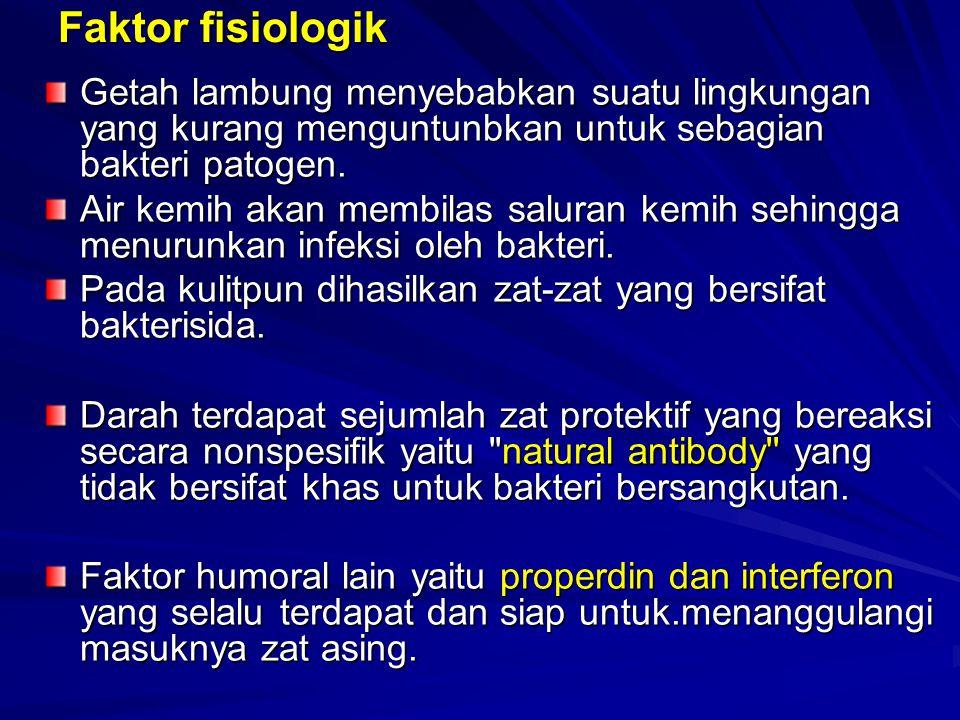 Faktor fisiologik Getah lambung menyebabkan suatu lingkungan yang kurang menguntunbkan untuk sebagian bakteri patogen.
