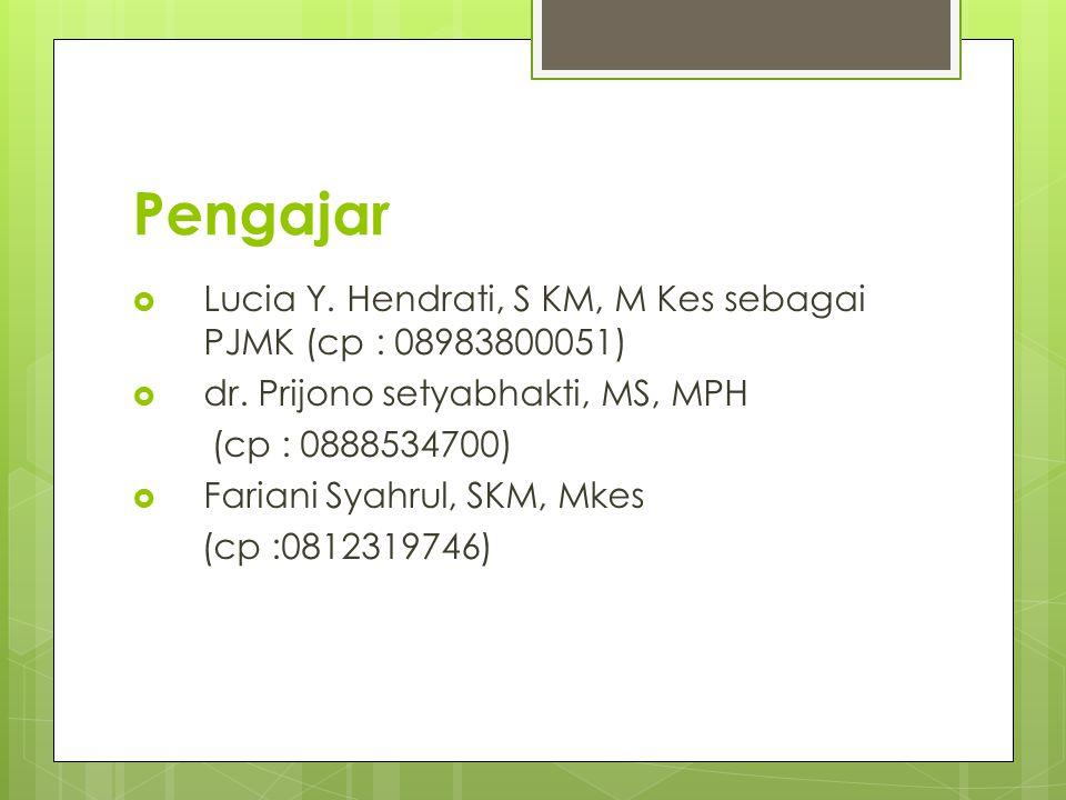 Pengajar Lucia Y. Hendrati, S KM, M Kes sebagai PJMK (cp : 08983800051) dr. Prijono setyabhakti, MS, MPH.