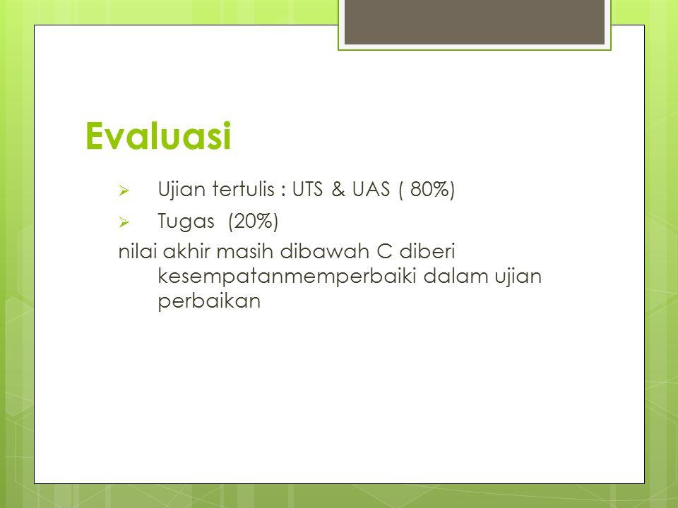 Evaluasi Ujian tertulis : UTS & UAS ( 80%) Tugas (20%)