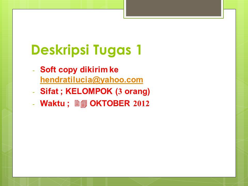 Deskripsi Tugas 1 Soft copy dikirim ke hendratilucia@yahoo.com