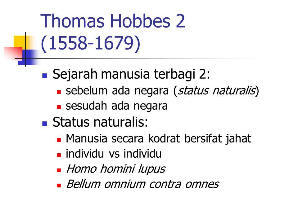 Thomas Hobbes 2 (1558-1679) Sejarah manusia terbagi 2: