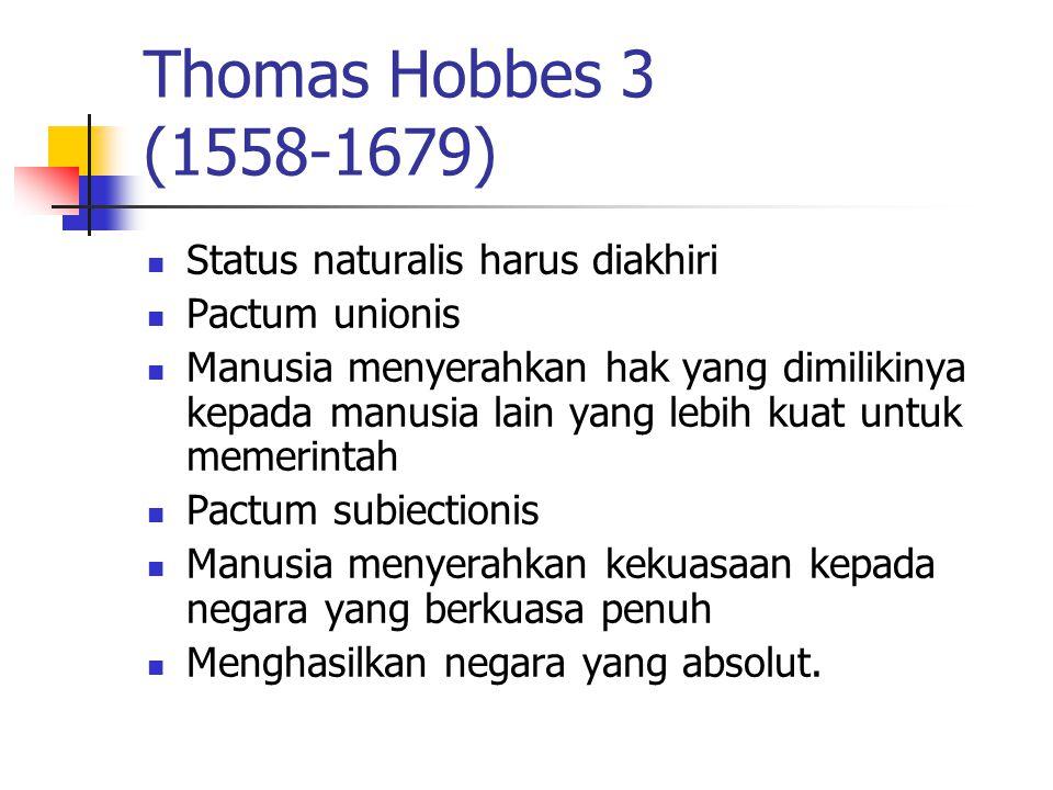Thomas Hobbes 3 (1558-1679) Status naturalis harus diakhiri