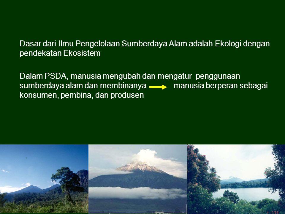 Dasar dari Ilmu Pengelolaan Sumberdaya Alam adalah Ekologi dengan pendekatan Ekosistem