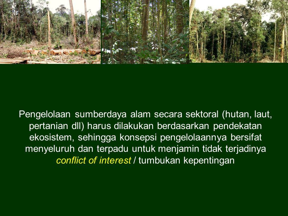 Pengelolaan sumberdaya alam secara sektoral (hutan, laut, pertanian dll) harus dilakukan berdasarkan pendekatan ekosistem, sehingga konsepsi pengelolaannya bersifat menyeluruh dan terpadu untuk menjamin tidak terjadinya conflict of interest / tumbukan kepentingan