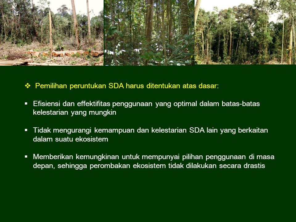 Pemilihan peruntukan SDA harus ditentukan atas dasar: