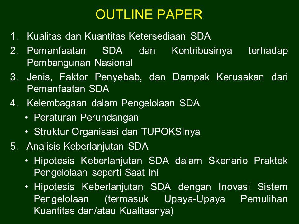 OUTLINE PAPER Kualitas dan Kuantitas Ketersediaan SDA