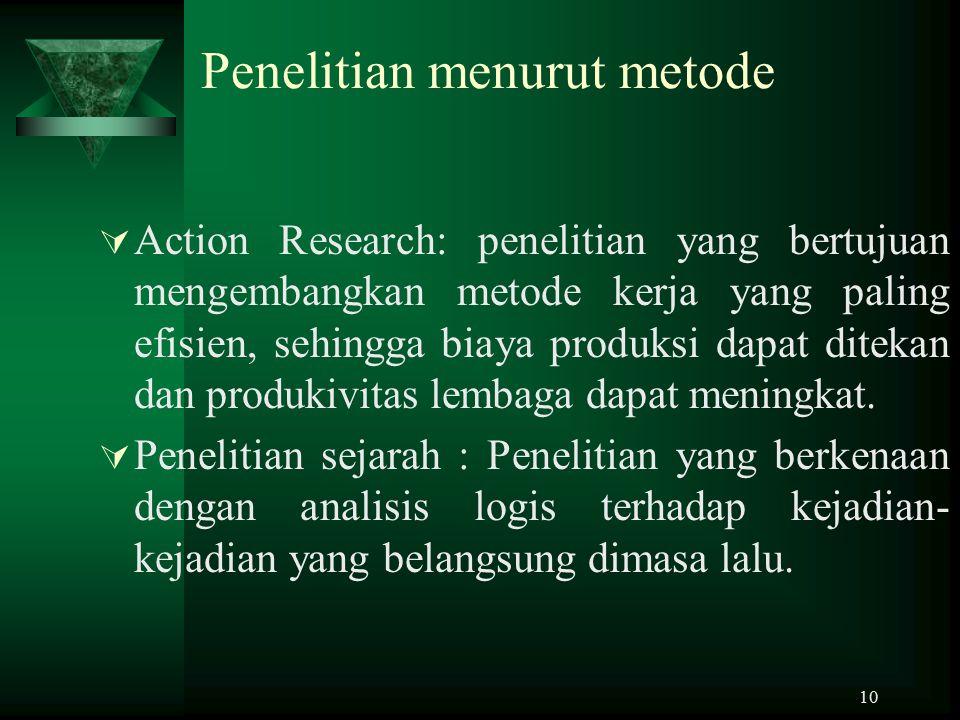Penelitian menurut metode