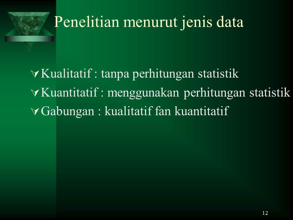 Penelitian menurut jenis data