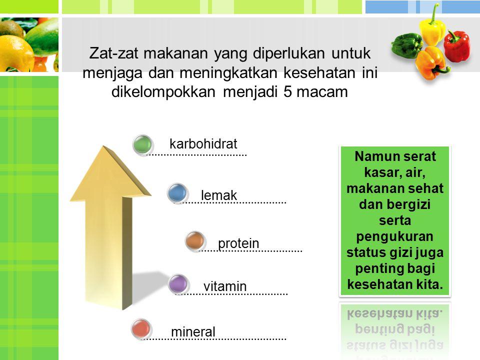 Zat-zat makanan yang diperlukan untuk menjaga dan meningkatkan kesehatan ini dikelompokkan menjadi 5 macam