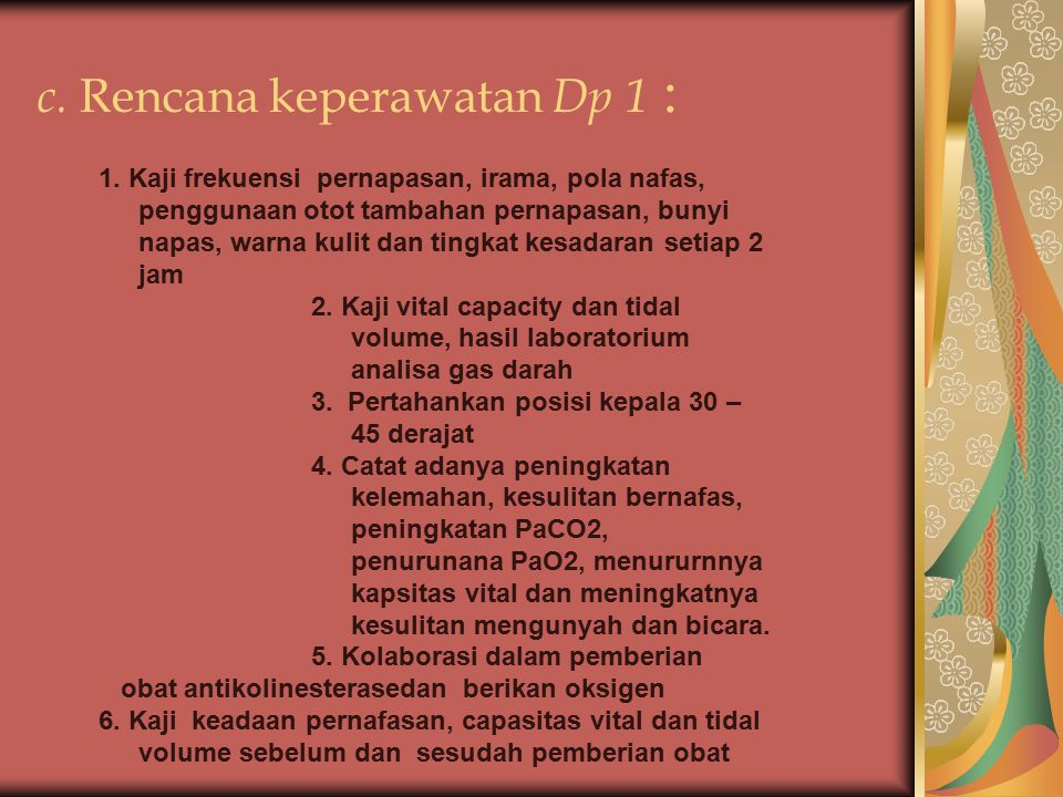 c. Rencana keperawatan Dp 1 :