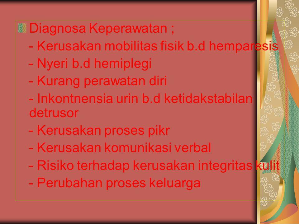Diagnosa Keperawatan ;