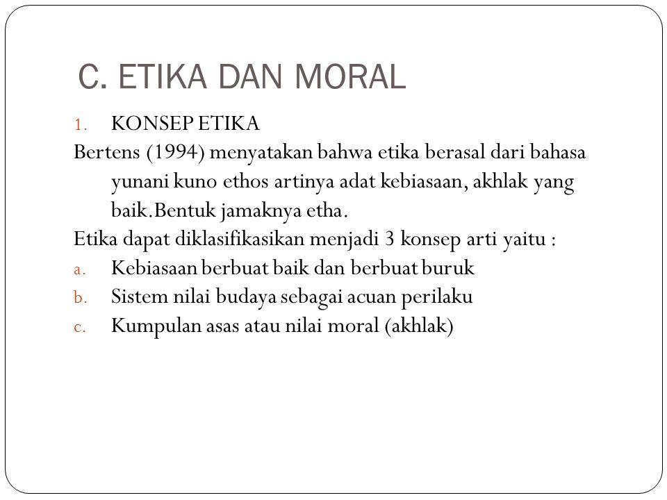 C. ETIKA DAN MORAL KONSEP ETIKA