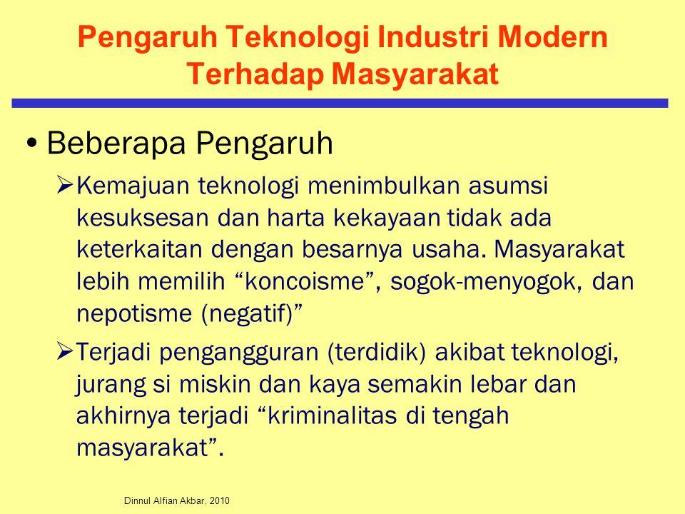 Pengaruh Teknologi Industri Modern Terhadap Masyarakat