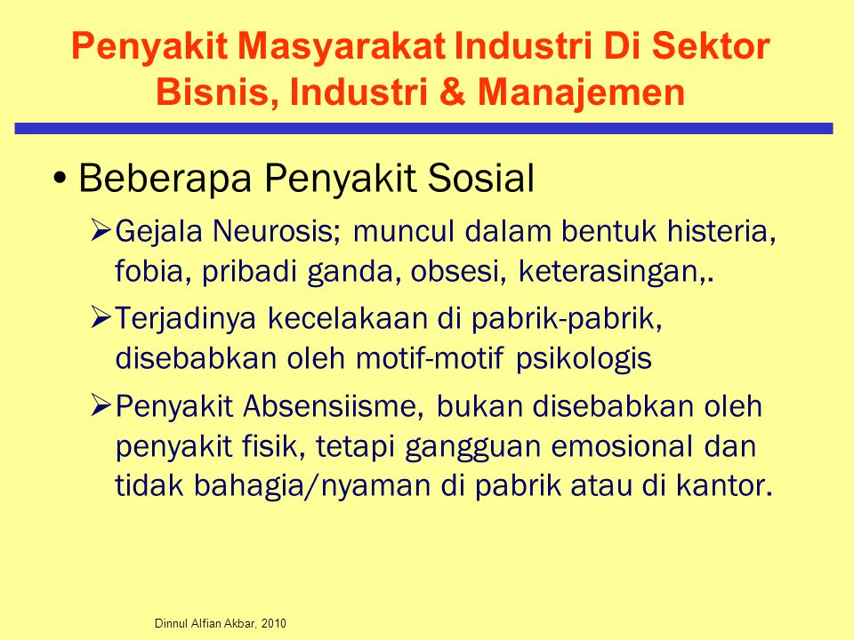 Penyakit Masyarakat Industri Di Sektor Bisnis, Industri & Manajemen