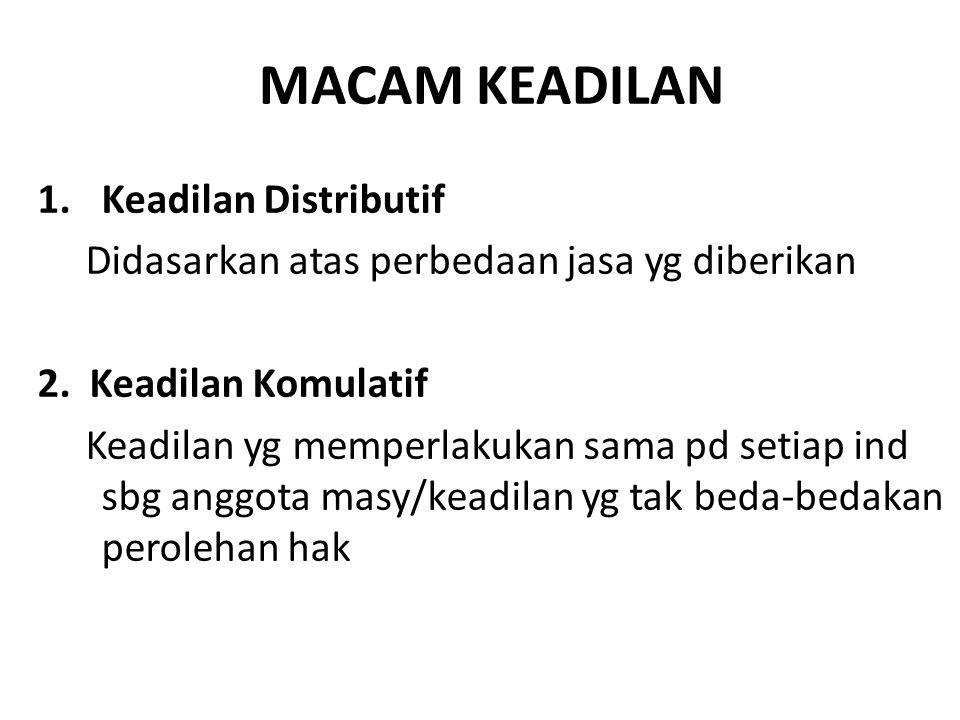MACAM KEADILAN Keadilan Distributif