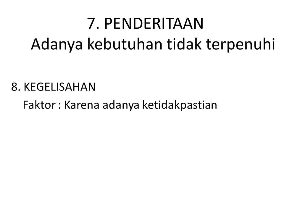7. PENDERITAAN Adanya kebutuhan tidak terpenuhi