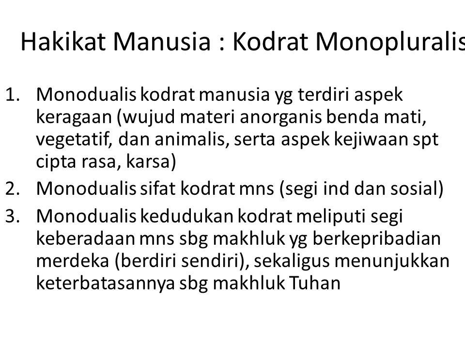 Hakikat Manusia : Kodrat Monopluralis