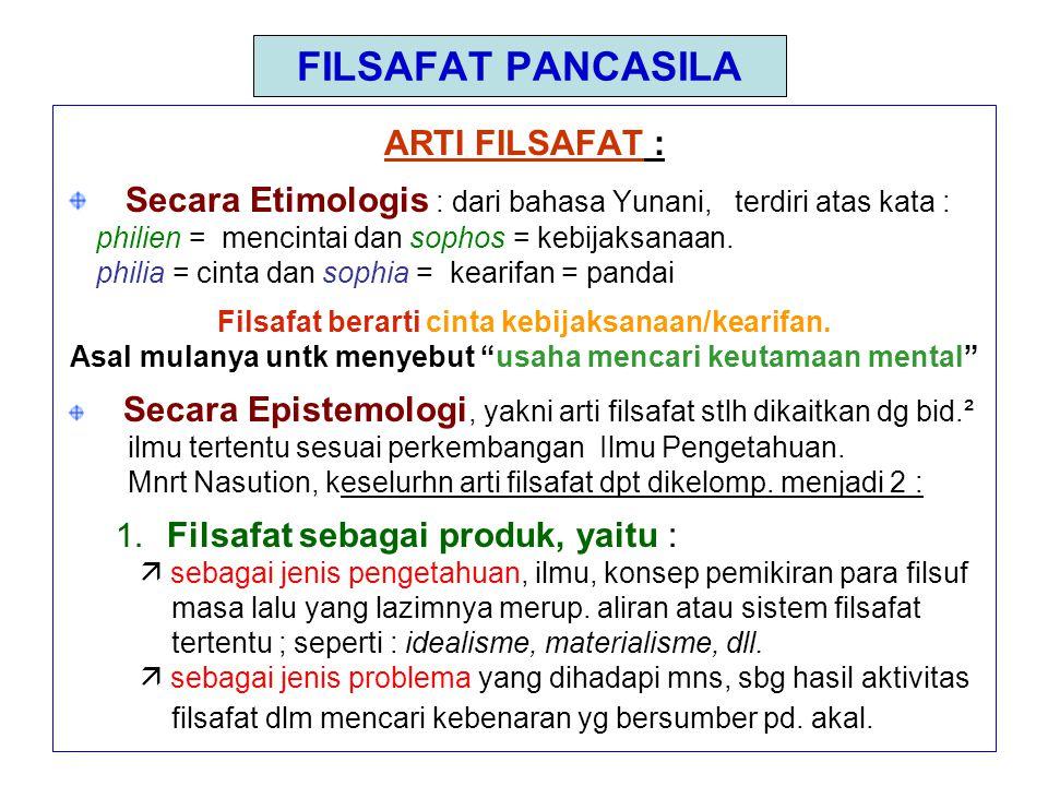 FILSAFAT PANCASILA ARTI FILSAFAT :