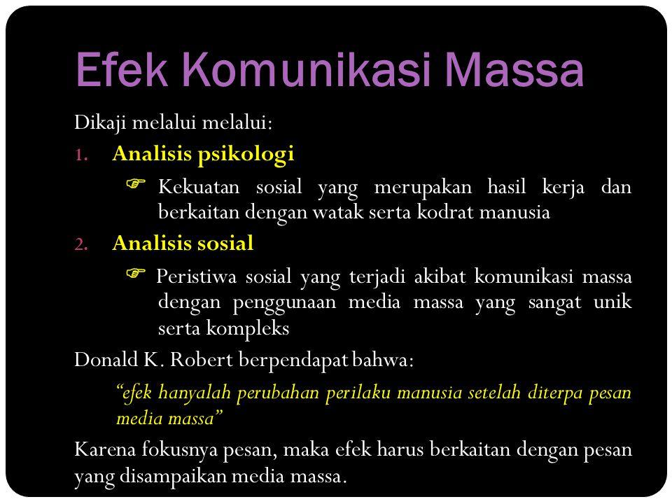 Efek Komunikasi Massa Dikaji melalui melalui: Analisis psikologi