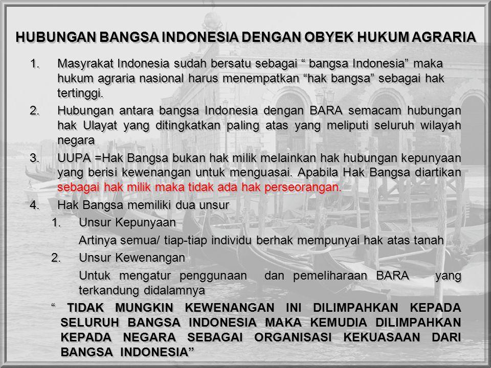 HUBUNGAN BANGSA INDONESIA DENGAN OBYEK HUKUM AGRARIA